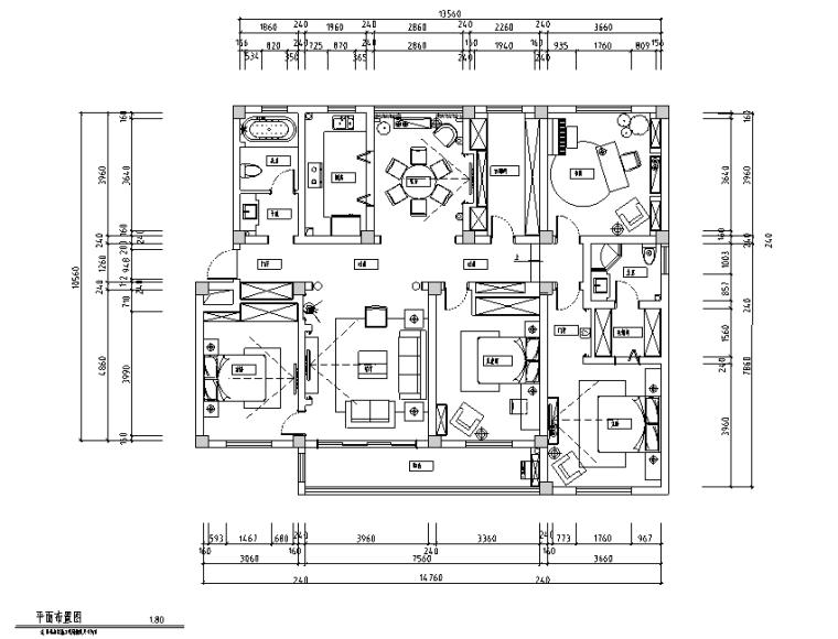 [江苏]美式新古典风格200平四居室住宅设计施工图(附效果图)