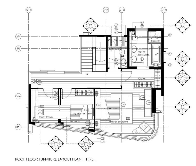 [香港]现代轻奢风格复式楼层装修全套施工图(附效果图)_3