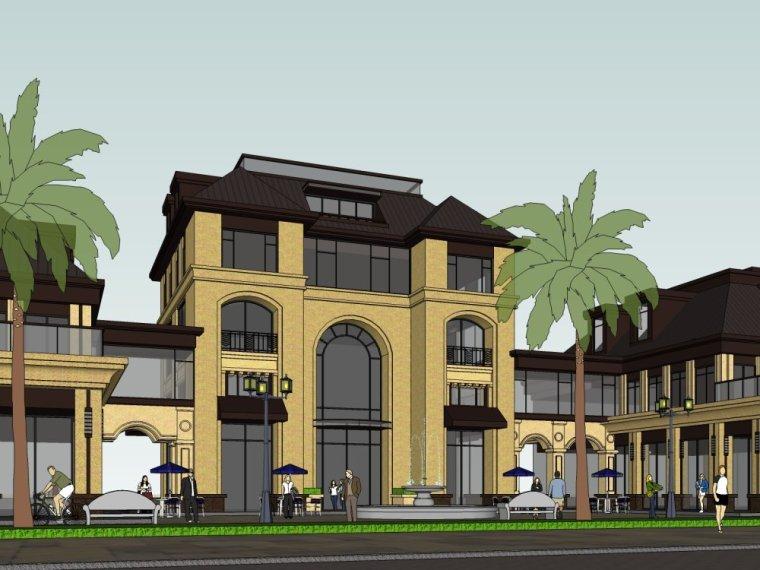 欧式风欧式风商业街3层建筑设计(su模型)