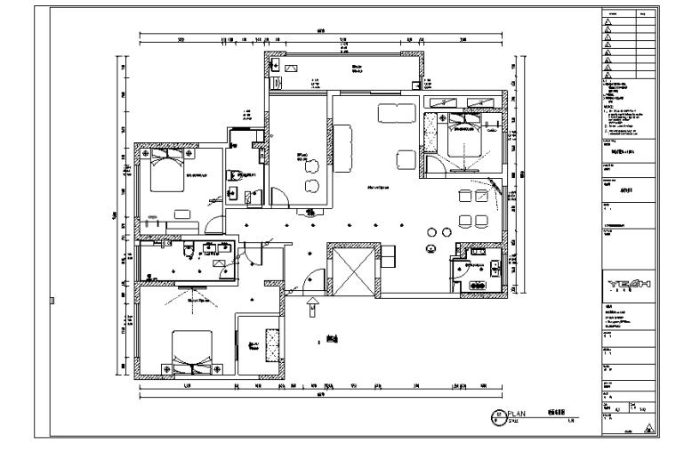 现代简约四居室住宅空间设计施工图(附效果图)