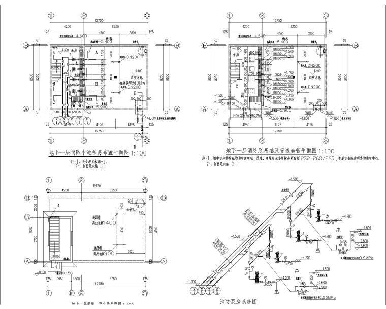 V型滤池反冲洗泵房资料下载-消防水池泵房给排水设计图