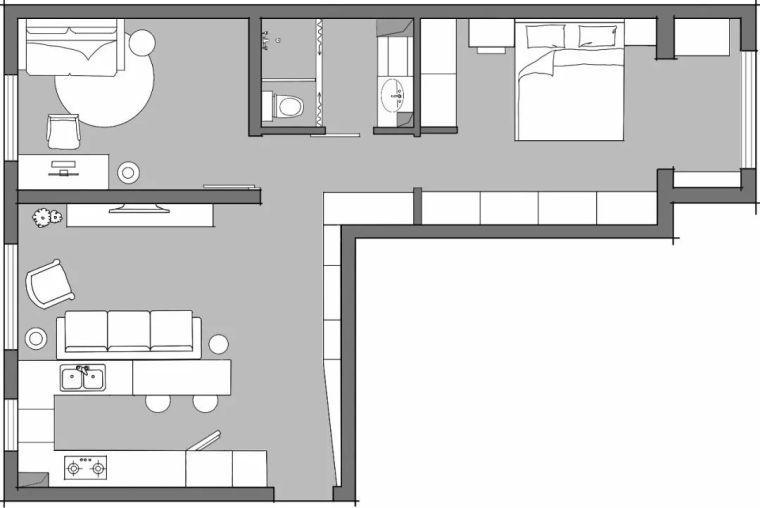 63㎡L形两室一厅,小家看着很大还不乱,门厅设计就很赞!