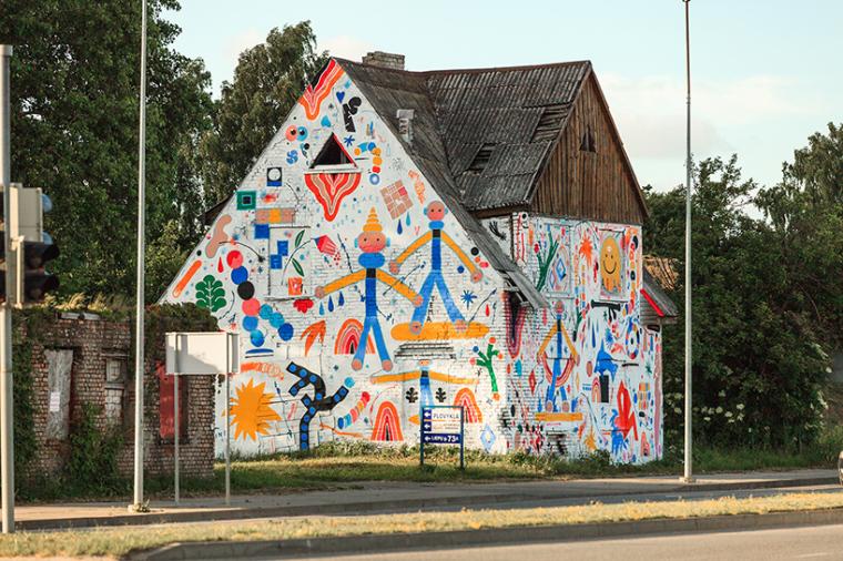 立陶宛房屋外墙上涂鸦景观-1