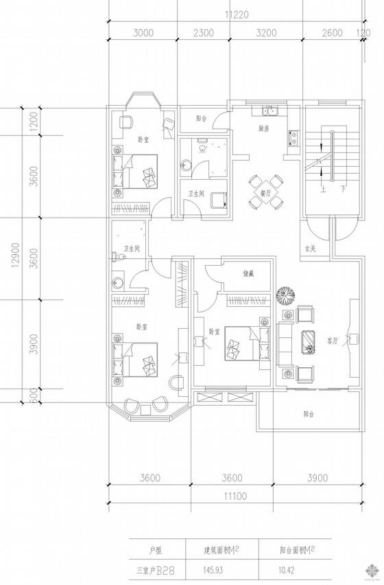 板式多层一梯两户三室一厅二卫户型图(146/146)