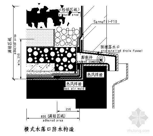 横式水落口防水构造