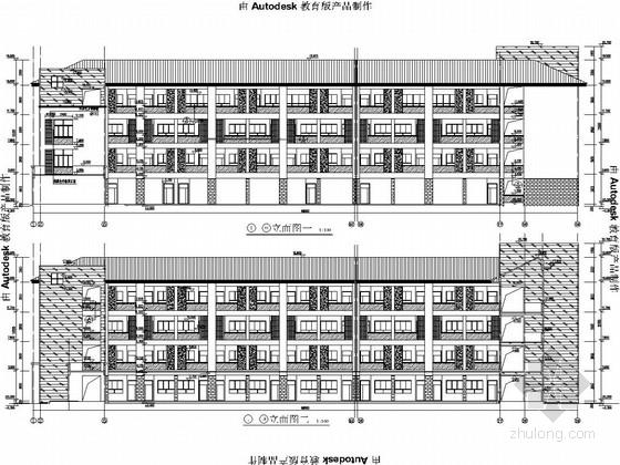[浙江]小学教学楼、综合楼、风雨操场及食堂结构图(含建筑图)