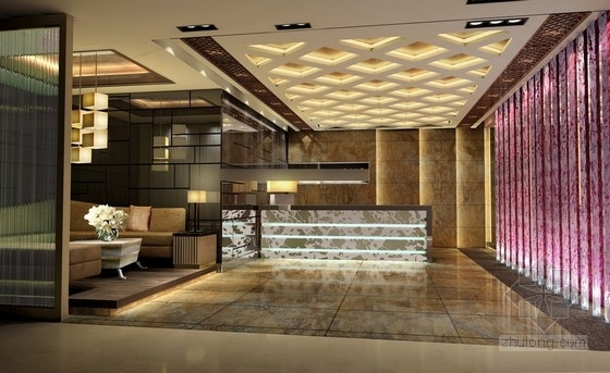 [上海]高档商务休闲会所室内设计概念方案图接待区效果图