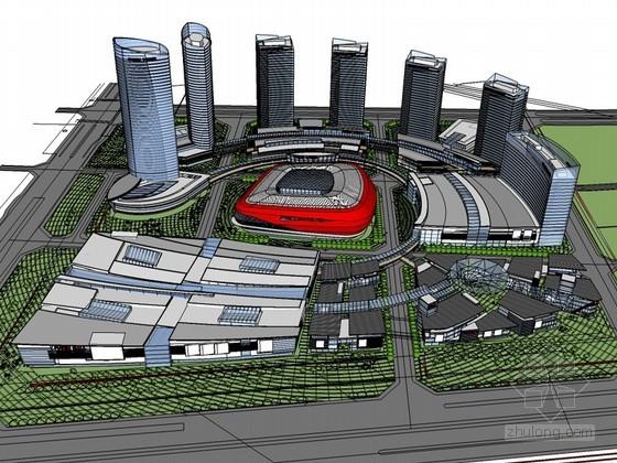 城市商业中心SketchUp模型下载