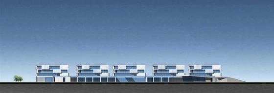 """[江苏]多层现代化""""盒子""""造型企业办公大楼建筑设计方案文本-多层现代化""""盒子""""造型企业办公大楼建筑立面图"""