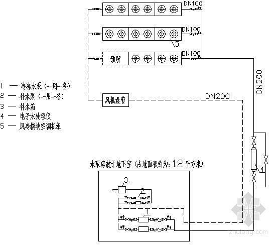 酒店中央空调设计施工图(风冷模块式机组)-制冷机房原理图.jpg