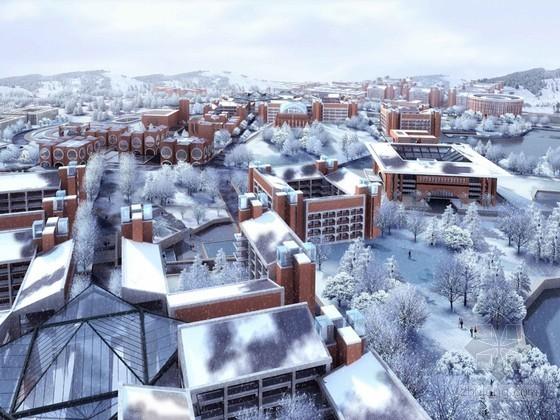雪景建筑鸟瞰3D模型下载