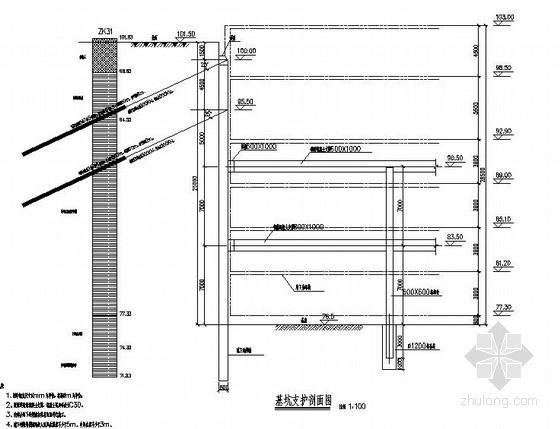 深度26.5m基坑支护全套设计图纸(内支撑 预应力锚索)