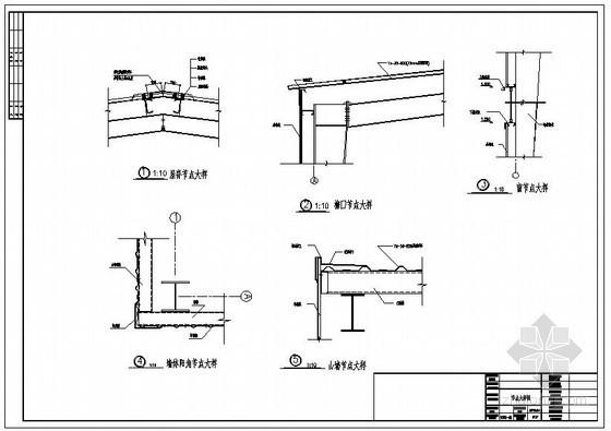 某厂房屋脊及墙体阳角节点构造详图