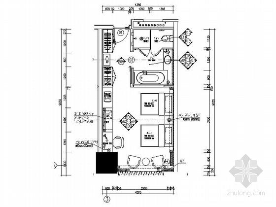 [河北]某五星级豪华酒店标准双人间室内装修施工图