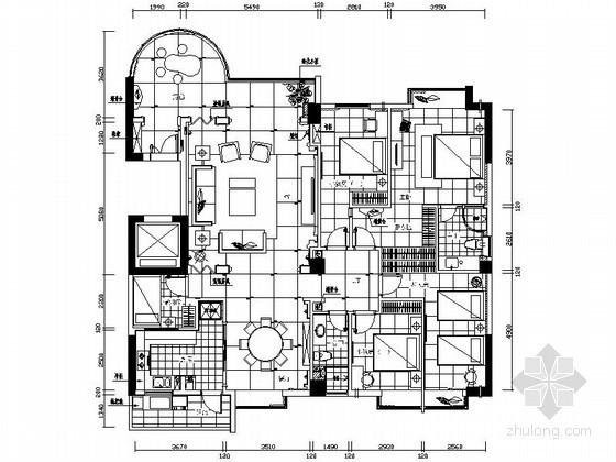 [厦门]米色大理石装饰四居室装修图