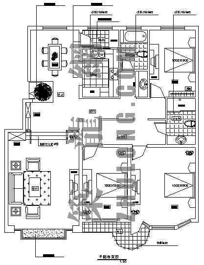 天河家园室内装修工程图 (三室两厅两卫)