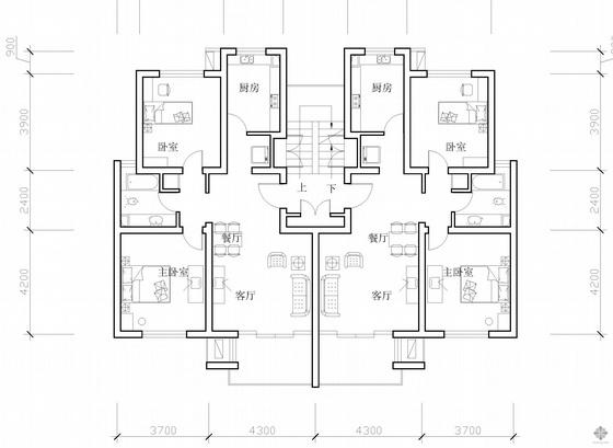 板式多层一梯二户二室二厅一卫户型图(87/87)