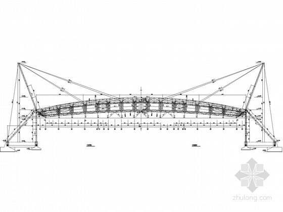 斜拉-立体管桁架看台罩棚结构深化设计施工图