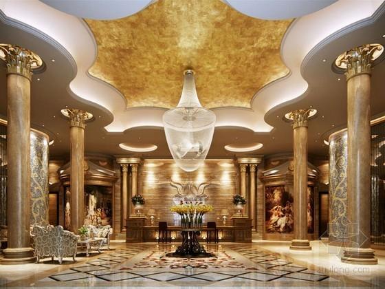 豪华欧式酒店大堂3d模型下载