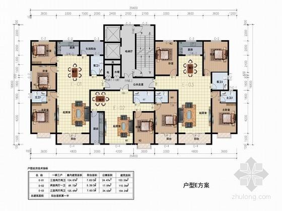 高层住宅一梯三户型平面图(110、153平方米)