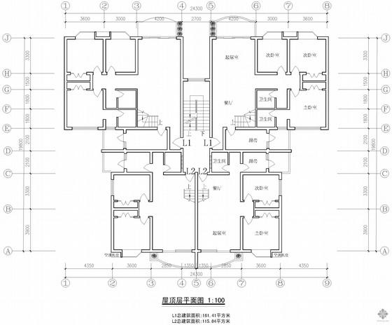 板式多层一梯二户有跃层户型图(111/72)-2