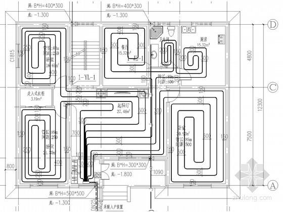 双层小型别墅建筑采暖系统设计施工图(含给排水设计 计算书)