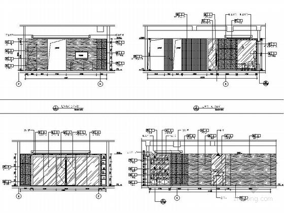 [四川]2.79亿夺标大厦改建四星级高档奢华酒店装修施工图(含方案)商务中心立面图