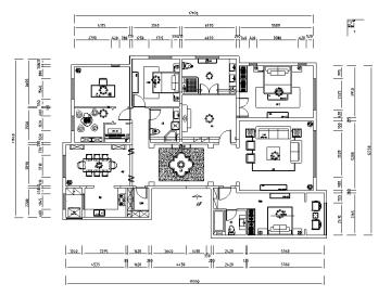 中式样板间施工图(含效果图)