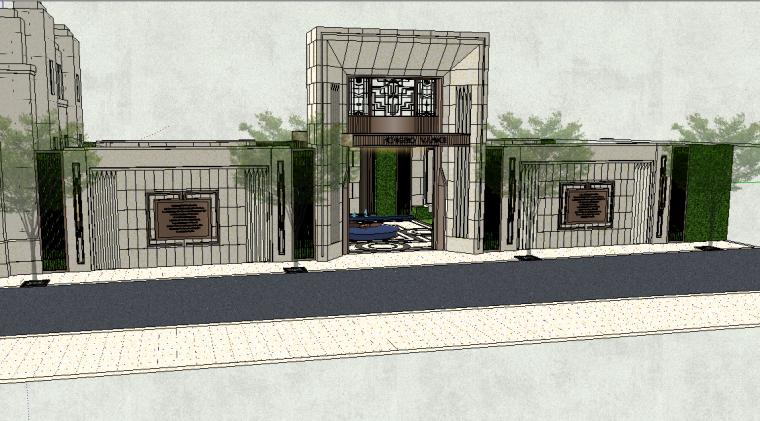 居住区大门围墙模型设计(新中式风格)-场景三