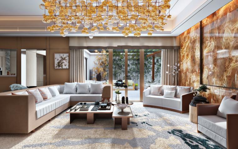 黄庭雅居|现代风住宅客厅设计3D模型(附效果图)