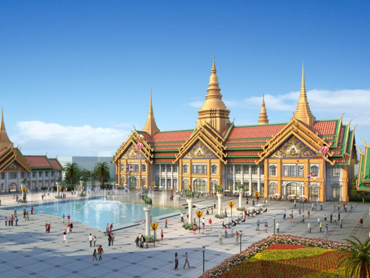 [云南]东南亚风格景区民族特色购物园区设计方案文本+施工图+模型(PPT+PDF+CAD+SU)