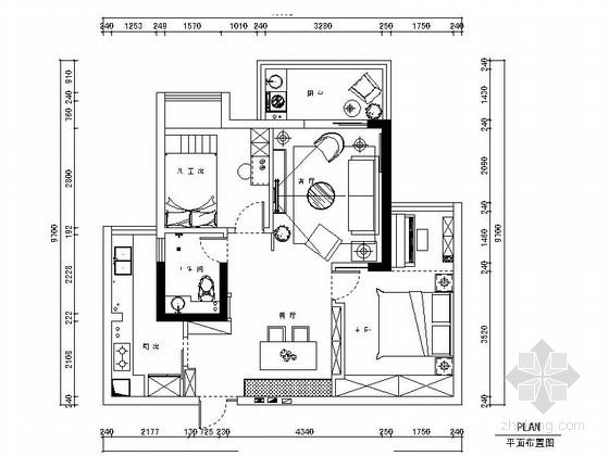 [湖北]简约大气现代两居室室内装修施工图(含效果)