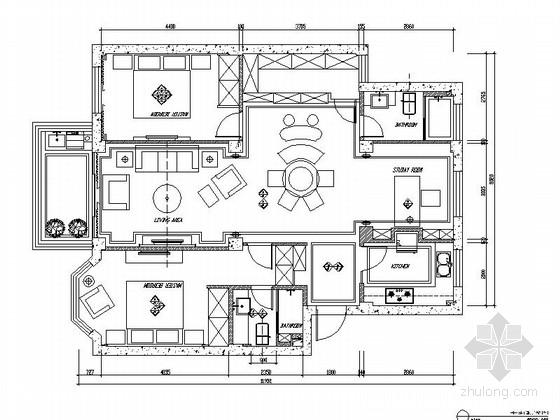 10万元简欧风格两居室家装CAD施工图(含效果图装修预算)