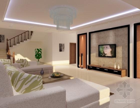 现代高档复式样板间装修施工图(含效果)客厅效果图