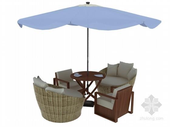 休闲桌椅3D模型下载