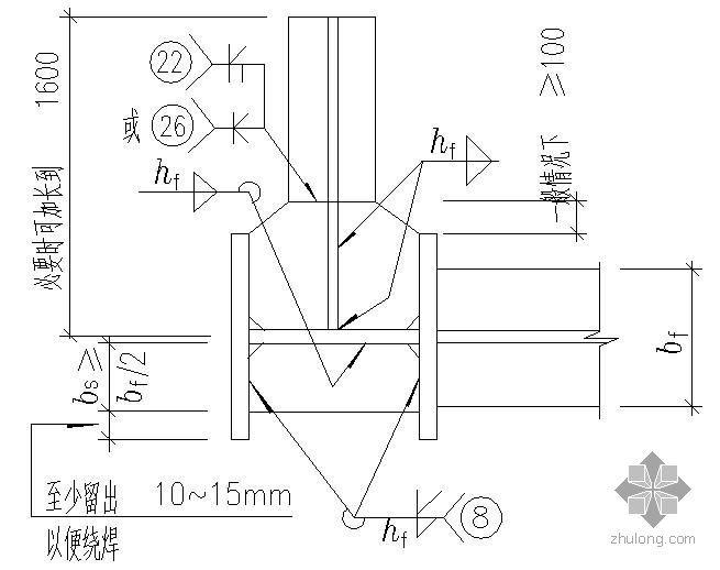 某变截面工字形中柱的工厂拼接及当框架梁与柱刚性连接时柱中设置水平加劲肋的节点构造详图(二)