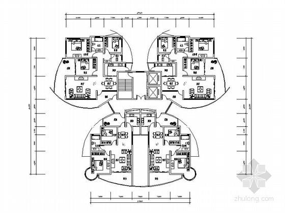 某高层住宅一梯四户型平面图(140、90平方米)