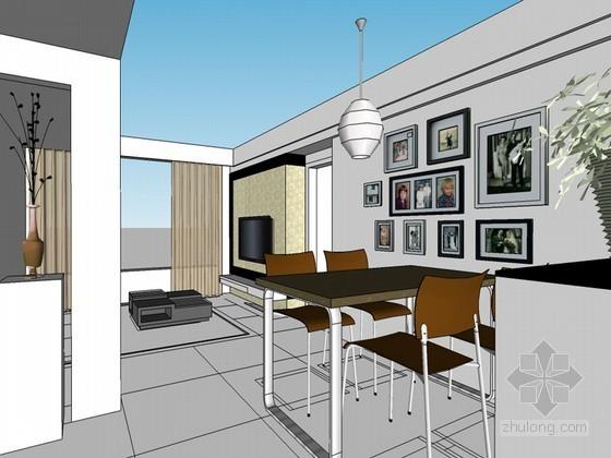 现代餐厅SketchUp模型下载