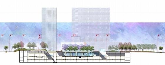 [云南]幻彩云图生态化主题购物商城景观设计方案(设计效果精美)-主题购物商城景观剖面图