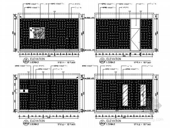 [新疆]1200㎡现代风格会所室内装修施工图(含实景图)散座区立面图