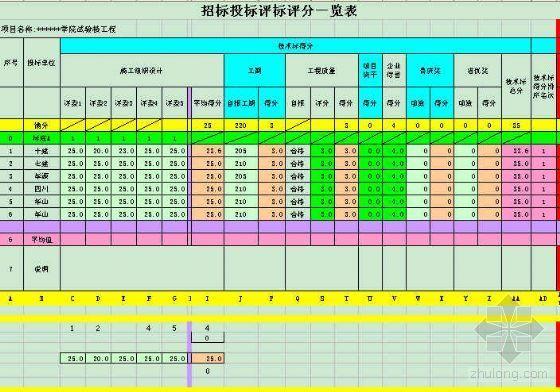 招标投标评标评分系统(自动计算)