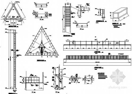 某三角形立柱三面体广告牌结构设计图