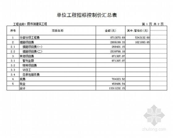 [山东]中学图书馆建筑工程量清单报价(2012)