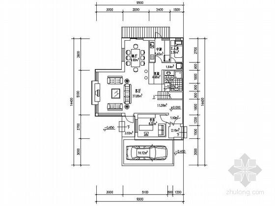 某三层带车库联排别墅端头户型平面图(南入口、250平方米)