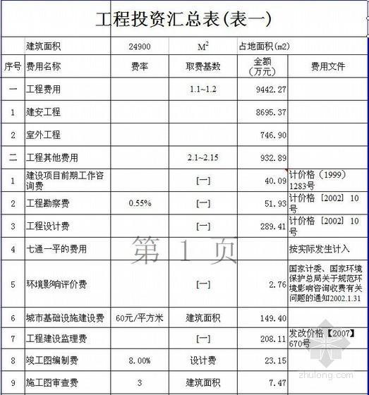 北京某住宅楼建安工程概算实例(2010-10)