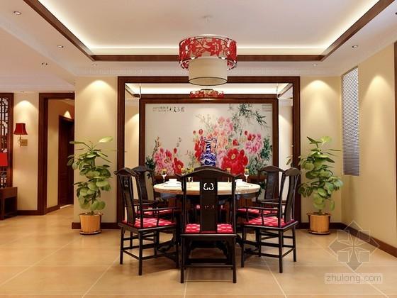 室内中式餐厅3d模型下载