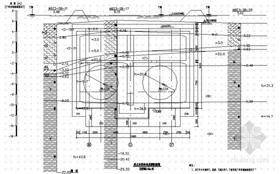 [广东]地铁车站深基坑地质剖面图(CAD)