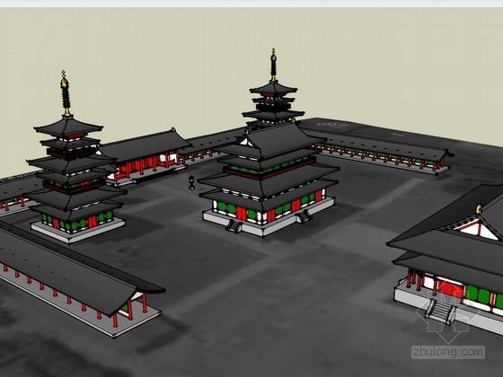 日本药师寺古建筑SketchUp模型
