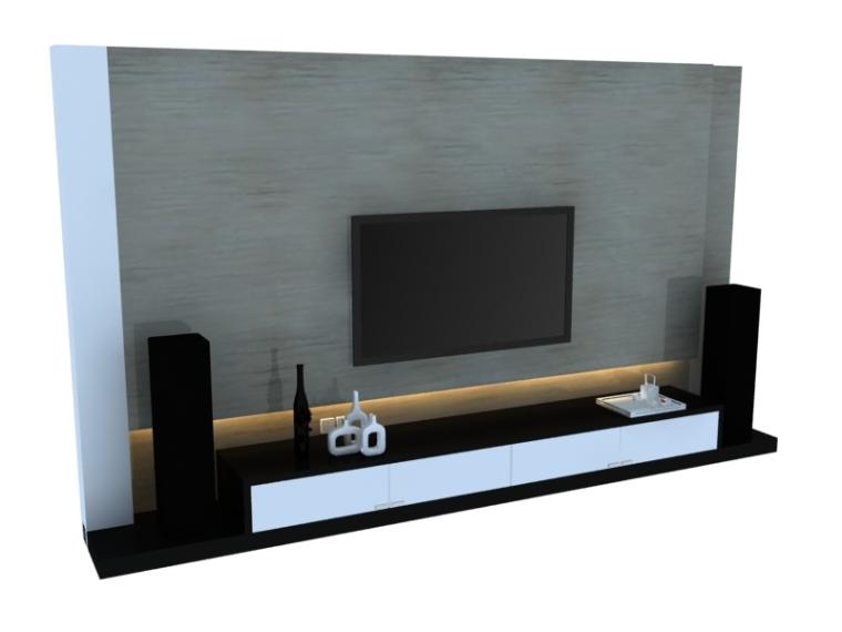 现代漂亮电视墙3D模型下载
