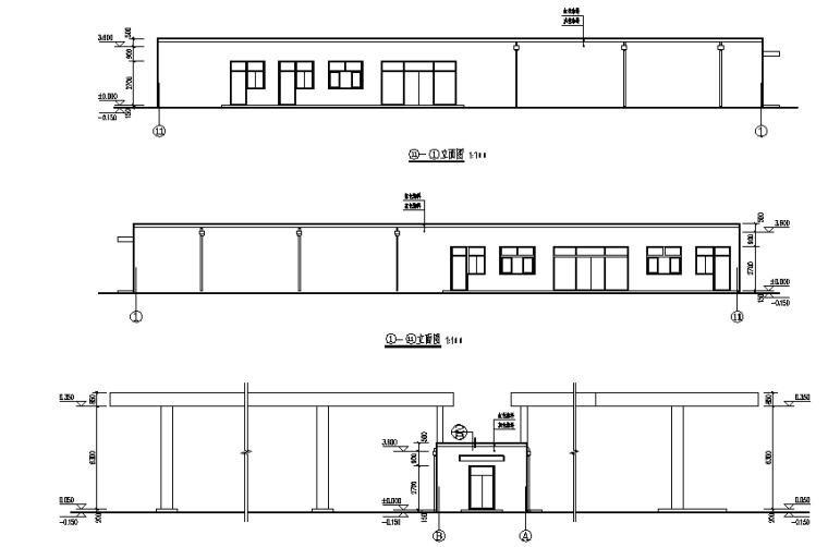 一层砖混加油、加气站全套施工图(罩棚网架)
